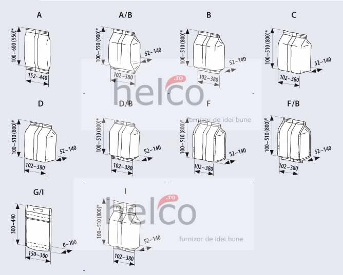 Tipuri pachete pentru ambalare verticala